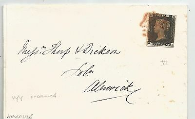 1840 Penny   Black  Plate Pl6 On Cover To Alnwick ,superb Backstamp ,see Scans