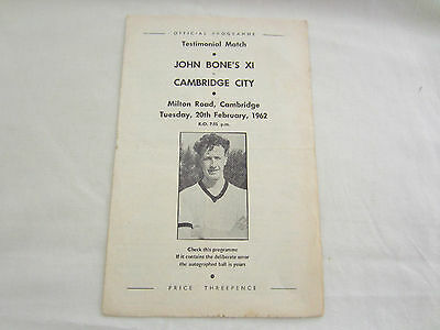 1961-62 TESTIMONIAL JOHN BONES X1 v CAMBRIDGE CITY