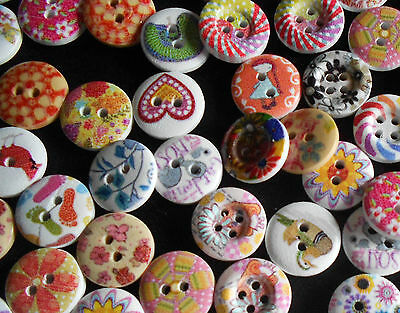 25, 50, 100 MIXED WOODEN 15mm SEWING / CRAFT BUTTONS