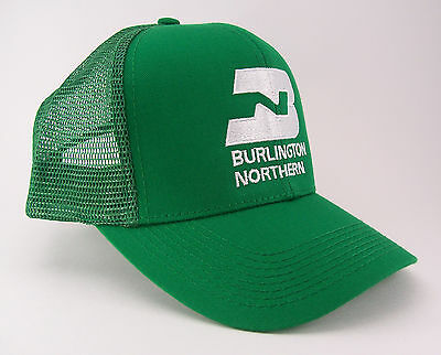 Burlington Northern Railway Embroidered Railroad Green Mesh Cap Hat #40-0046GM