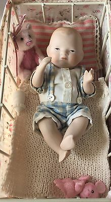 "Bye lo full bisque reproduction baby doll approximately 5"" long BOY"