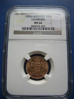 Germany Hamburg 10 Mark 1890J FIRST YEAR Gold NGC MS-66 TOP! RR in UNC