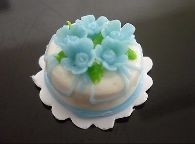 White Blue Flower Cake Dollhouse Miniatures Food Deco Bakery