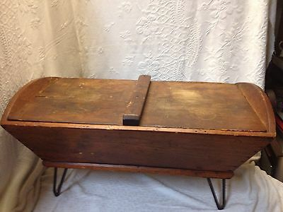 Vintage Dough Box Pine On Rod iron Stand With Cover 17-1/2 X32x15 Tall