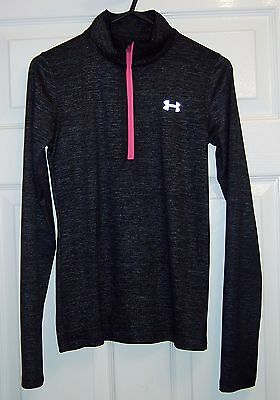 Under Armour - Long Sleeve Base Layer - Grey - 1/4 Zip - Size M (age 10-12)
