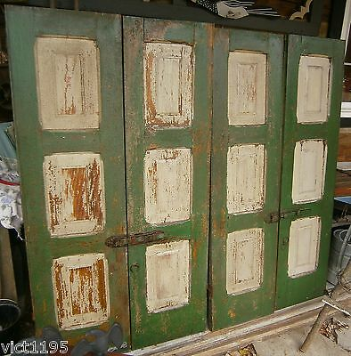 1800's Wooden House Shutters Raised Panel w/ hardware 4 set 8 panels