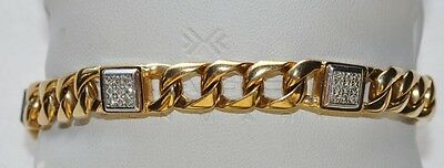 9ct Gold Gents Cubic Link Bracelet with Diamonds - Very Heavy 30.6g - Hallmarked
