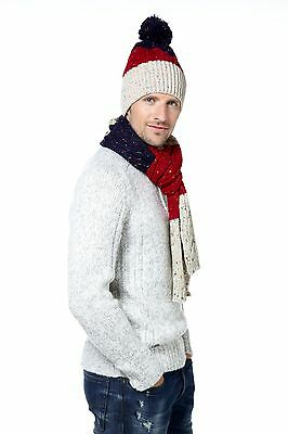 Mens Striped Hat And Scarf Set - Gift