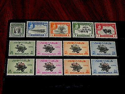 Bahawalpur stamps - 13 mint hinged early stamps - nice group !!