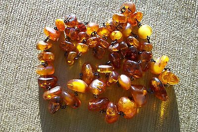 Antique Stunning Genuine Baltic Amber Necklace Silver Chain 69 Grams Xlong 80 Cm