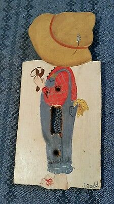 Vintage Wood Single Light Switch Plate Cover ~ Boy with Slingshot - Farmer