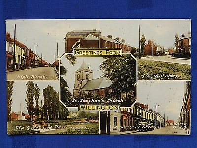 Frith hand coloured photographic multiview postcard: Willington Co. Durham (10)