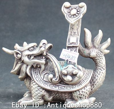 14cm China Silver Fengshui Longevity Dragon Tortoise Turtle Ru Yi Animal Statue