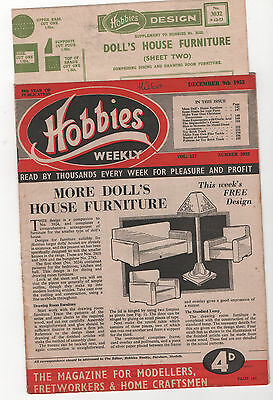 HOBBIES WEEKLY + PLAN FOR DOLLS HOUSE FURNITURE No.2 & MUCH MORE 9/12/53