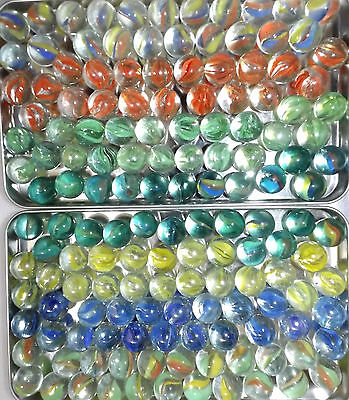 "COLLECTORS MARBLES ASSORTED CATS EYES 50 X SMALL 16mm 0.6""  * YOU CHOOSE COLOURS"