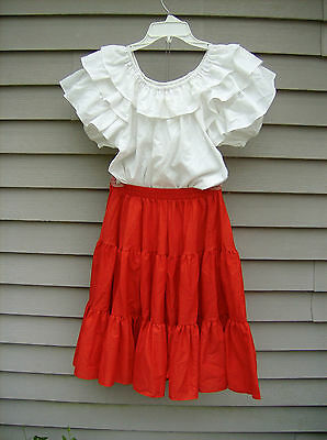 Malco Modes Jeri Bee ~ Square Dance Dress Set Red Skirt/White Blouse Sz Small