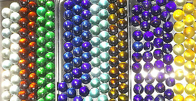 """COLLECTORS MARBLES 50 X SMALL 16mm 0.6"""" BLUE GREEN RED CLEAR OLIVE TURQ ORANGE"""