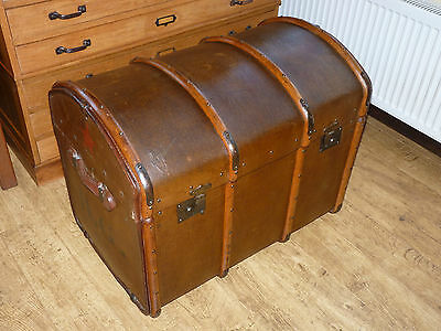 Large Vintage Industrial French Bentwood Steamer Trunk Coffee Table Box Chest