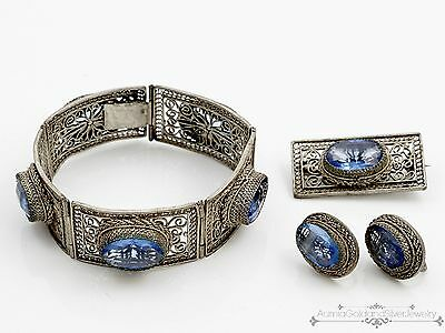 Antique Vintage Deco Sterling Silver Chinese Topaz Bracelet Brooch Earrings Set