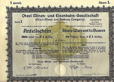 German bond Otavi Mines & Railway Company, 1921. South West Africa