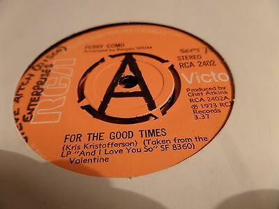 """Perry Como For The Good Times 7"""" single 45rpm"""