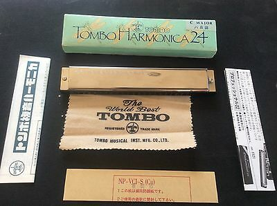 Vintage boxed TOMBO Harmonica in Box C Major in Box + cloth instructions papers