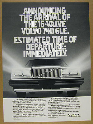 1989 Volvo 740 GLE 16-Valve 'Announcing' photo vintage print Ad
