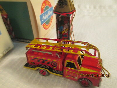 Schylling GUARDHOUSE & FIRE ENGINE TRUCK Tin Toy Christmas Ornament boxed