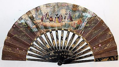 Antique Chinese 19Th Century Lacquer Wood Sticks Hand Painted Scene Fan