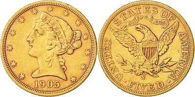 [#504349] United States, Coronet Head, $5, 1905, San Francisco, Au(50-53),...