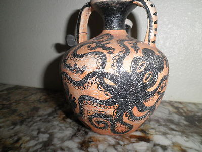 Museum Copy Greek Cretian 1200Bc Jug Or Urn Vessel Octopus Hand Painted With Tag