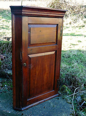 Rare18th Century English Cherry Wood Corner Cupboard