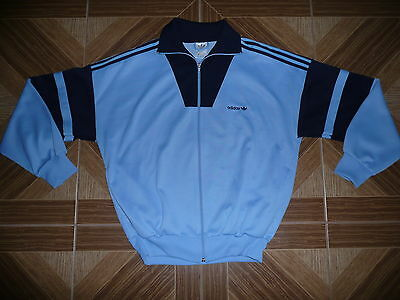 Vintage ADIDAS Old School Tracksuit 1980s Blue Made: MALAYSIA RARE