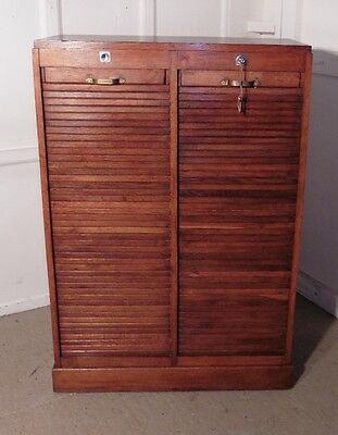 French Tambour Double Fronted Oak Art Deco Filing Cabinet