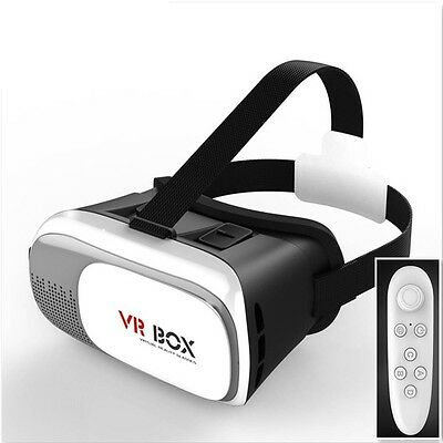 3D VR Box Virtual Reality Glasses Helmet Video Headset +Bluetooth Remote Control