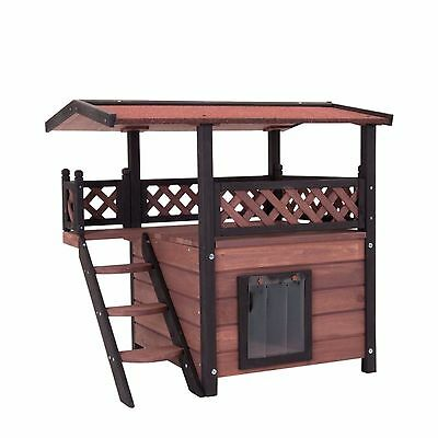 Outdoor Weatherproof Cat House Luxury Cats Home Wooden Pet Kitten Den Garden Bed