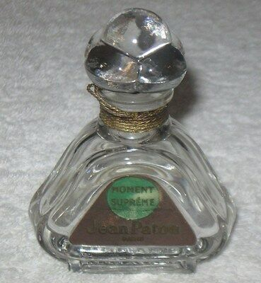 "Vintage Jean Patou Moment Supreme Perfume Bottle & Glass Stopper - 3 3/4"" Ht"