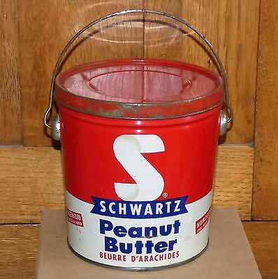 Vintage 4lbs Halifax & Montreal SCHWARTZ peanut butter tin can FREE SHIPPING!