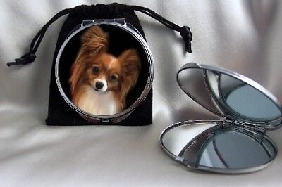 Papillon Dog Compact Mirror silvertone dual magnifying mirror with pouch