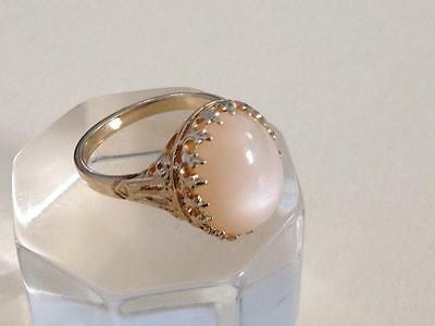 Vintage Sterling Vermeil Ring  with  Pale Pink Iridescent Stone Size 9 1/2 EUC