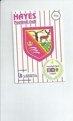 Hayes v Peterborough United FA Cup Replay Football Programme 1989/90