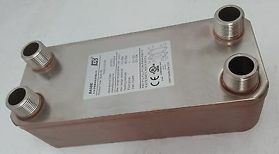 """NEW! 10 Plate Water to Water Plate Heat Exchanger 1"""" MPT Ports w/Bracket"""