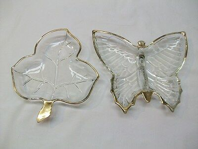 Jeanette Glass Gold Trimmed Butterfly Candy Dish + Gold Trimmed Leaf Snack Dish