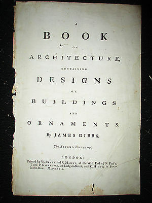 1739 Antique James Gibbs Book of Architecture Title Page 2nd Ed LARGE 17.75x11.5