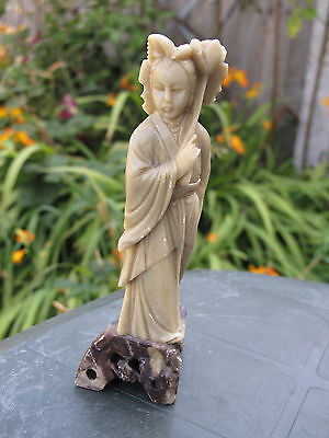 Superb Chinese Vintage Soapstone Hand Carved Guanyin Statue
