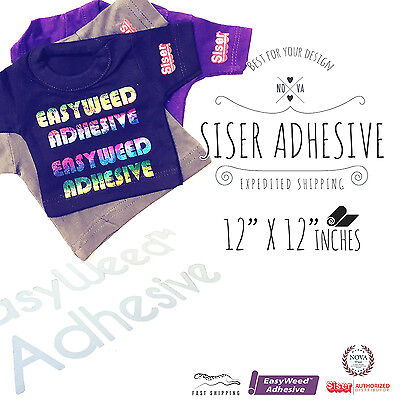 "SISER EasyWeed ADHESIVE Heat Transfer Vinyl for Tshirt, 12"" x 12"" (1 Foot)"