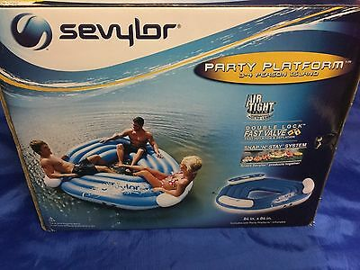 SEVYLOR Party Platform POOL FLOAT 3-4 Person Island INFLATABLE 84x84 NEW IN BOX!