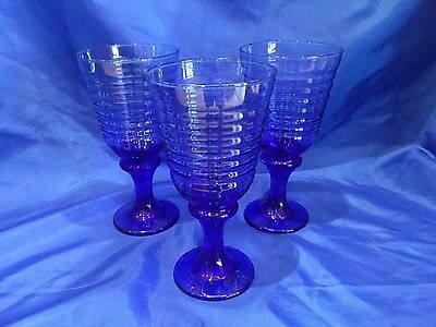 COBALT BLUE Set Of THREE Ribbed FOOTED DRINKING GLASSES Water Iced Tea MINT