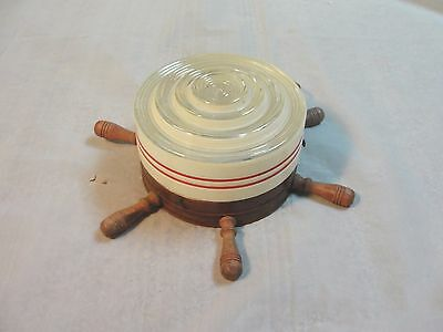 Vintage Nautical Ships Wheel Ceiling Light Fixture With Glass Shade (B)