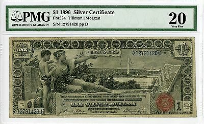 "1896 Fr.224 $1 United States ""EDUCATIONAL"" Silver Certificate - PMG Very Fine 20"